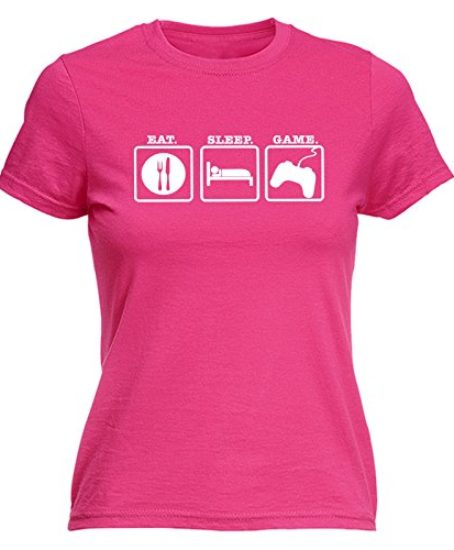 123t-Womens-EAT-SLEEP-GAME-FITTED-T-SHIRT-0
