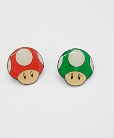 2-Super-Mario-Red-Green-Mushroom-Metal-Pin-Badge-Set-0