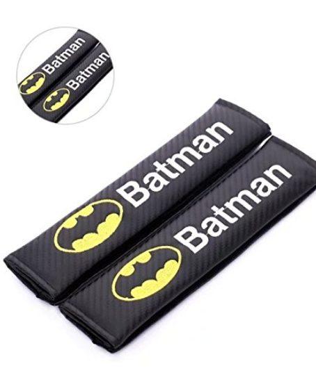 Amooca-Carbon-Fiber-Seat-Belt-Strap-Cover-For-Any-Car-Black-With-Batman-LogoShoulder-Strap-0