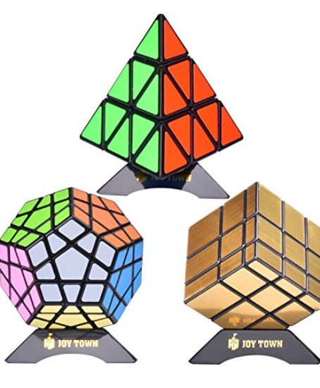 Bundle-Pack-Speed-Cube-Set-of-3-Pyraminx-Pyramid-Speedcubing-Megaminx-Speed-Cube-Gold-Mirror-Cube-Magic-Twisty-Puzzle-With-Bonus-Three-Stands-and-Screwdriver-Black-0