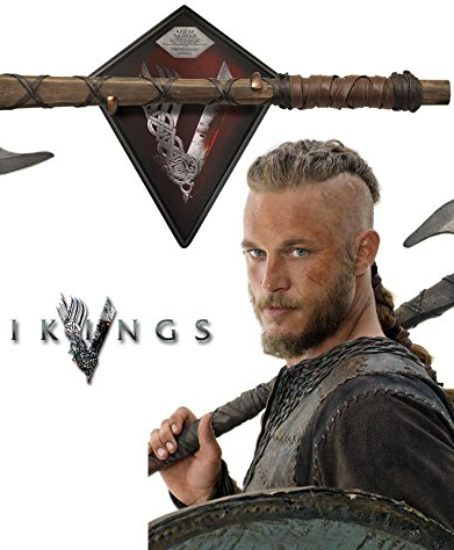 Collectible-Vikings-Battle-Axe-of-Ragnar-Lothbrok-TV-Series-Limited-Edition-w-Certificate-of-Authenticity-Leather-wrapped-handle-Color-box-sleeve-0