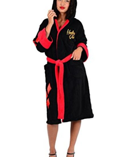 DC-Comics-Harley-Quinn-Bombshell-Ladies-Fleece-Robe-One-Size-Black-0