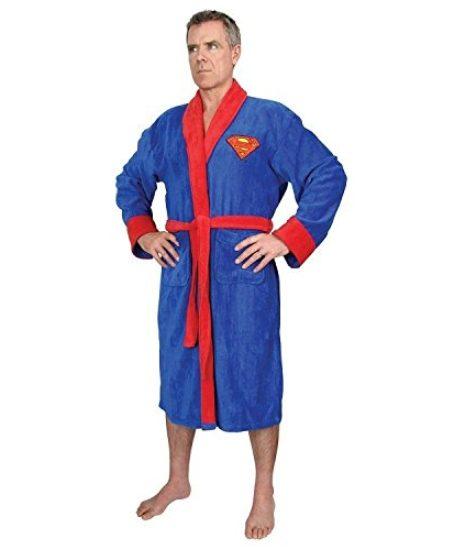DC-Comics-Superman-Mens-Fleece-Bath-Robe-Blue-One-Size-0
