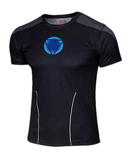 G-LIKE-Mens-Black-Iron-Man-Short-T-shirt-0