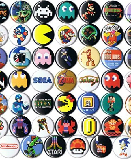 Huge-Wholesale-Lot-of-48-Classic-Video-Game-1-pinsbuttonsbadges-0