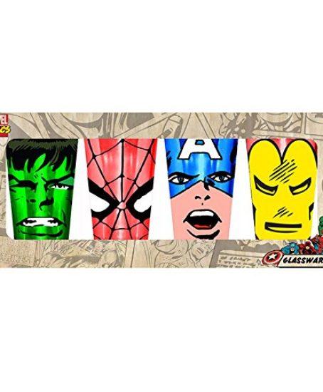 Marvel-Silver-Buffalo-MC031P20-4-Piece-Marvel-Comics-Faces-Colored-Pint-Glass-Set-16-oz-Multicolor-0