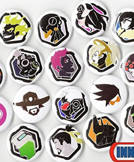 OVERWATCH-BUTTON-PACK-6-RANDOM-BUTTONS-1-INCH-PIN-BACK-TRACER-REAPER-VIDEO-GAMES-0