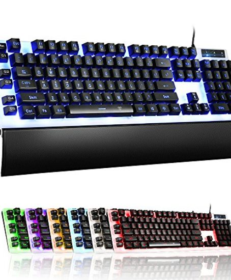 Pictek-Mechanical-Feel-Gaming-Keyboard-Wired-LED-Gaming-Keyboards-USB-Wired-Keyboard-with-7-Color-Backlit-26-Anti-ghosting-Keys-for-Gamers-Office-0-0