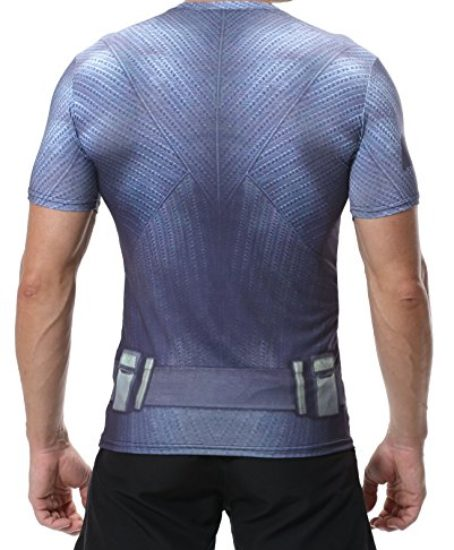 Red-Plume-Mens-Compression-Sports-T-shirt-Grey-Waistband-Bat-Fitness-Shirt-0-0