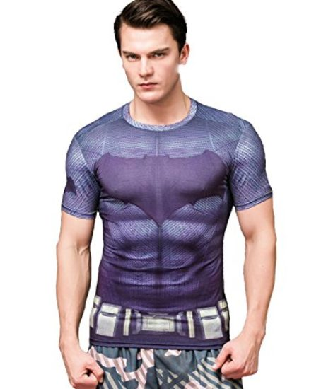 Red-Plume-Mens-Compression-Sports-T-shirt-Grey-Waistband-Bat-Fitness-Shirt-0