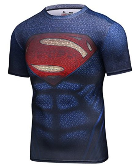 Red-Plume-Mens-Compression-Sports-Tight-Elastic-Shirt-Super-Logo-Training-Gym-Running-Tee-0