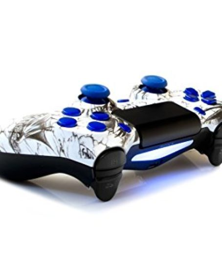 Sony-PS4-DualShock-4-PlayStation-4-Wireless-Controller-Custom-White-Dragon-Design-with-Chrome-Blue-Buttons-Un-Modded-0-0