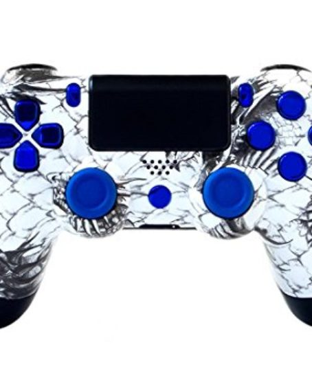 Sony-PS4-DualShock-4-PlayStation-4-Wireless-Controller-Custom-White-Dragon-Design-with-Chrome-Blue-Buttons-Un-Modded-0