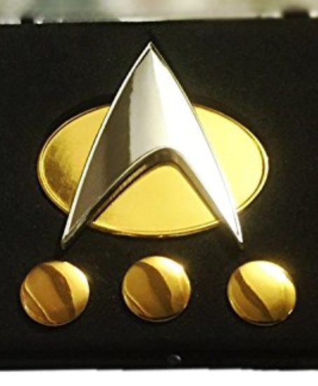 Star-Trek-TNG-Full-Size-Communicator-Pin-and-Ranking-Pips-SET-in-Acrylic-Case-0