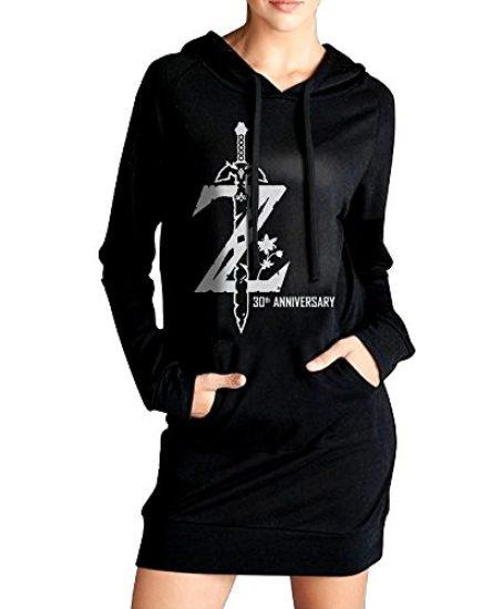 Xero-Women-Legend-Of-Zelda-Breath-Of-The-Wild-Sweatshirt-Dress-Pockets-Tunic-Top-Black-0