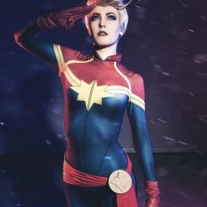 Maid Of Might Cosplaying Captain Marvel
